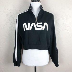H&M Divided NASA Cropped Sweatshirt Black
